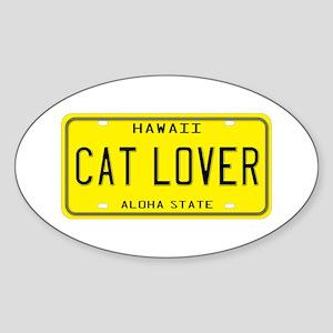 Hawaii Cat Lover Oval Sticker