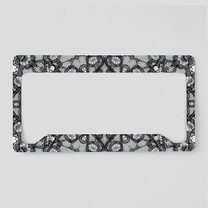 bohemian boho black lace License Plate Holder