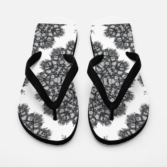 bohemian boho black lace Flip Flops