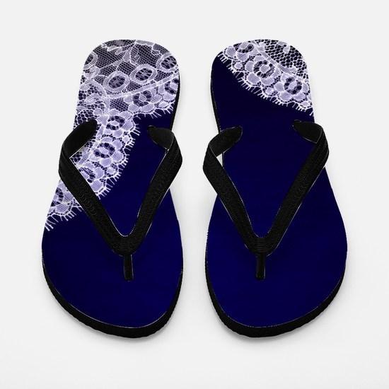 nautical navy blue lace Flip Flops