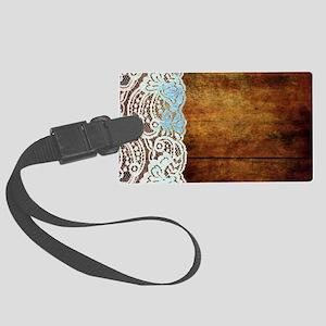 woodgrain bohemian rustic lace Large Luggage Tag