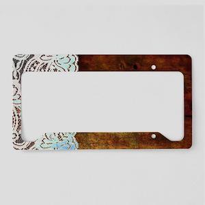 woodgrain bohemian rustic lac License Plate Holder