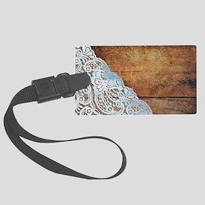 bohemian rustic wood lace Large Luggage Tag