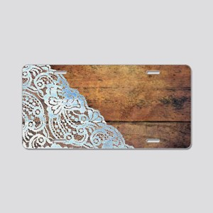 bohemian rustic wood lace Aluminum License Plate
