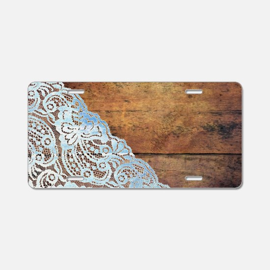 bohemian rustic wood lace Aluminum License Plate