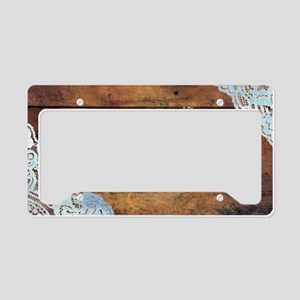 bohemian rustic wood lace License Plate Holder