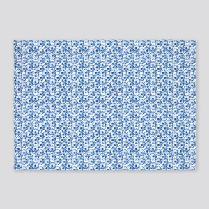 Blue and White Fiel of Daisy Flower 5'x7'Area Rug