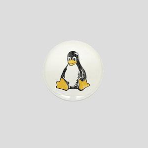 linux tux penguin Mini Button