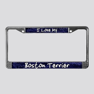 Funky Love Boston Terrier License Plate Frame