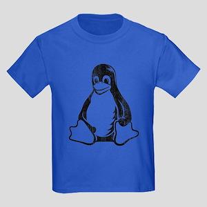 linux tux penguin Kids Dark T-Shirt