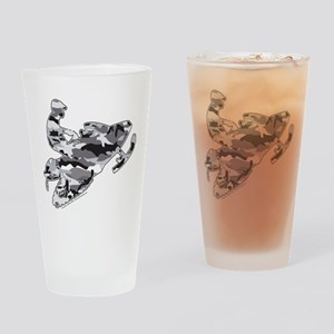 Camouflage Grey Snowmobiler Drinking Glass