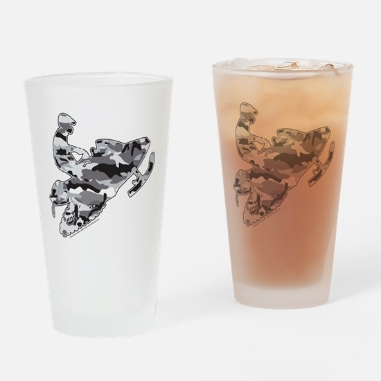 Camouflage Grey Snowmobiler Drinking Glass