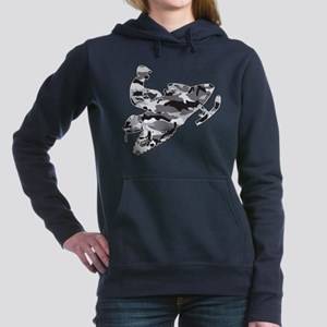 Camouflage Grey Snowmobi Women's Hooded Sweatshirt