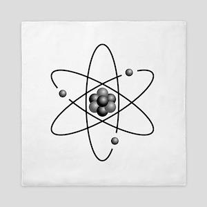 Atom design black and white Queen Duvet
