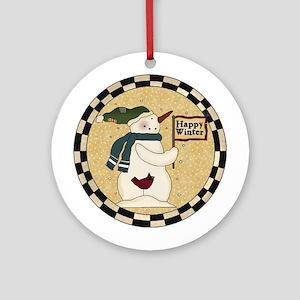 Happy Winter Ornament (Round)
