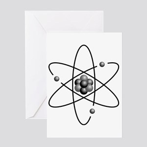 Atom design black and white Greeting Cards