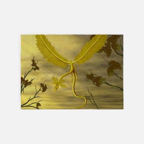Flying Leaf Dragon 5'x7'Area Rug