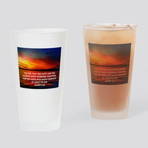 James 2:22 Drinking Glass