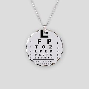 Eye Test Chart Necklace Circle Charm