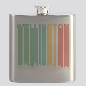 Retro Wellington New Zealand Skyline Flask