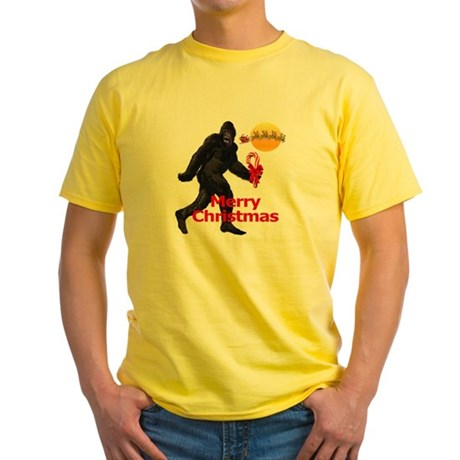 Bigfoot believes in Santa Claus Yellow T-Shirt