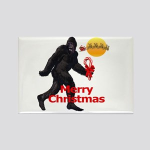 Bigfoot believes in Santa Claus Rectangle Magnet