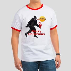 Bigfoot believes in Santa Claus Ringer T