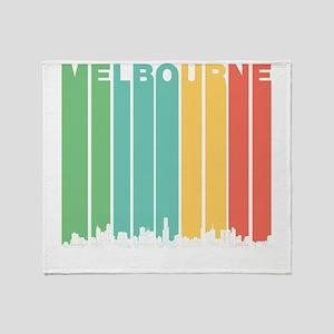 Retro Melbourne Australia Skyline Throw Blanket
