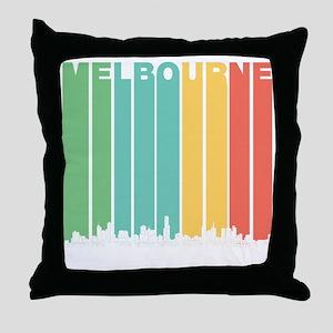 Retro Melbourne Australia Skyline Throw Pillow