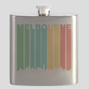 Retro Melbourne Australia Skyline Flask