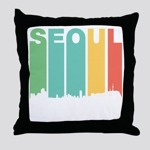 Retro Seoul South Korea Skyline Throw Pillow