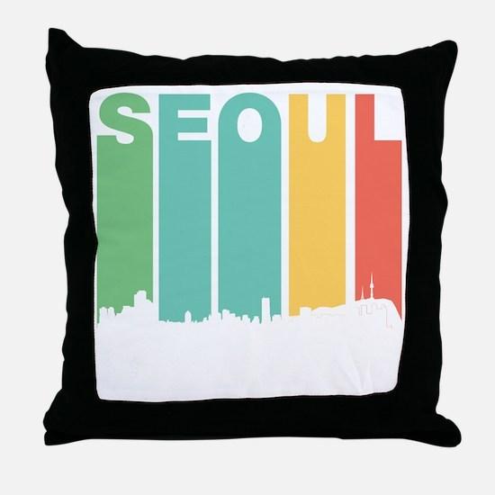 Retro Seoul South Korea Skyline Throw Pillow
