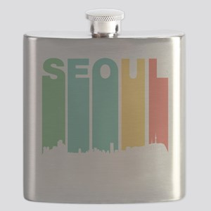 Retro Seoul South Korea Skyline Flask