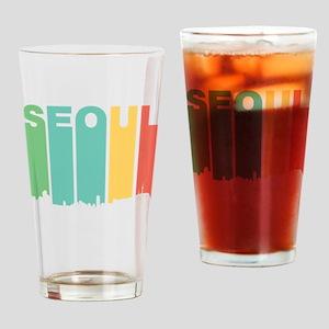 Retro Seoul South Korea Skyline Drinking Glass