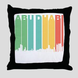 Retro Abu Dhabi Skyline Throw Pillow