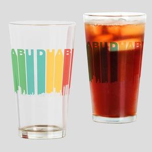 Retro Abu Dhabi Skyline Drinking Glass