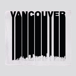 Retro Vancouver Canada Skyline Throw Blanket