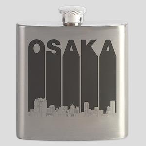 Retro Osaka Japan Skyline Flask
