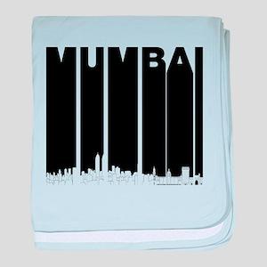 Retro Mumbai India Skyline baby blanket