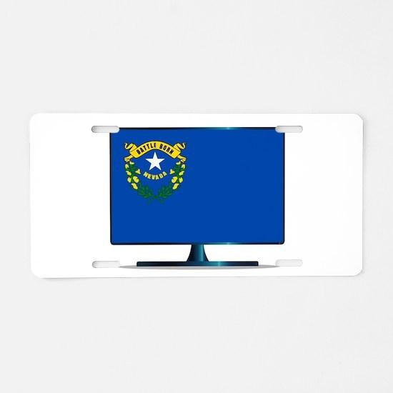 Nevada Flag TV Aluminum License Plate