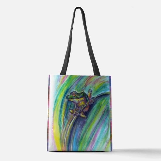 Tree frog! Wildlife art! Polyester Tote Bag