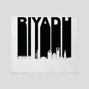 Retro Riyadh Saudi Arabia Skyline Throw Blanket