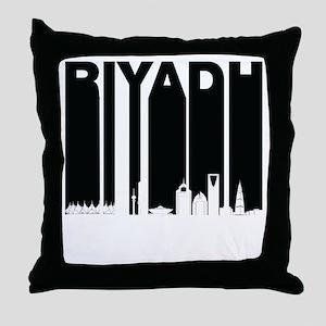 Retro Riyadh Saudi Arabia Skyline Throw Pillow