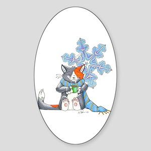 Snowflake Kitten Oval Sticker