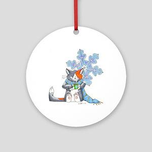 Snowflake Kitten Ornament (Round)