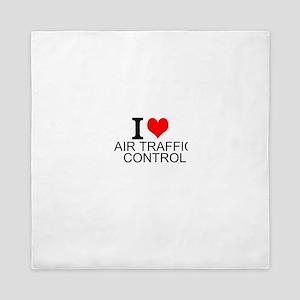 I Love Air Traffic Control Queen Duvet