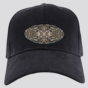 steampunk ornate western coun Black Cap with Patch