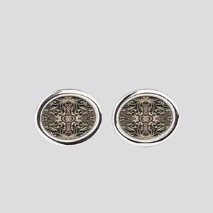 steampunk ornate western country Oval Cufflinks