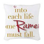 Ramen Must Fall Woven Throw Pillow
