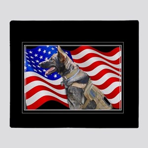 Veteran German Shepherd Dog Throw Blanket